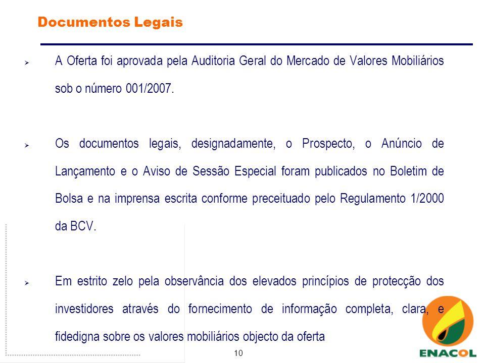 10 Documentos Legais A Oferta foi aprovada pela Auditoria Geral do Mercado de Valores Mobiliários sob o número 001/2007.