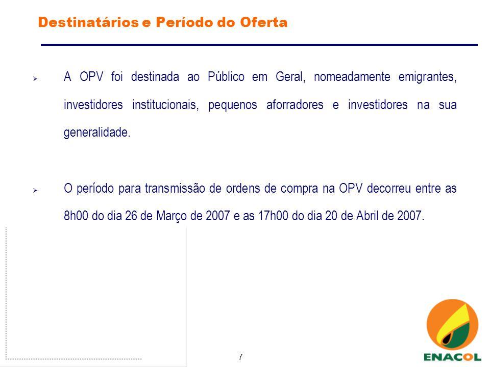 7 Destinatários e Período do Oferta A OPV foi destinada ao Público em Geral, nomeadamente emigrantes, investidores institucionais, pequenos aforradores e investidores na sua generalidade.