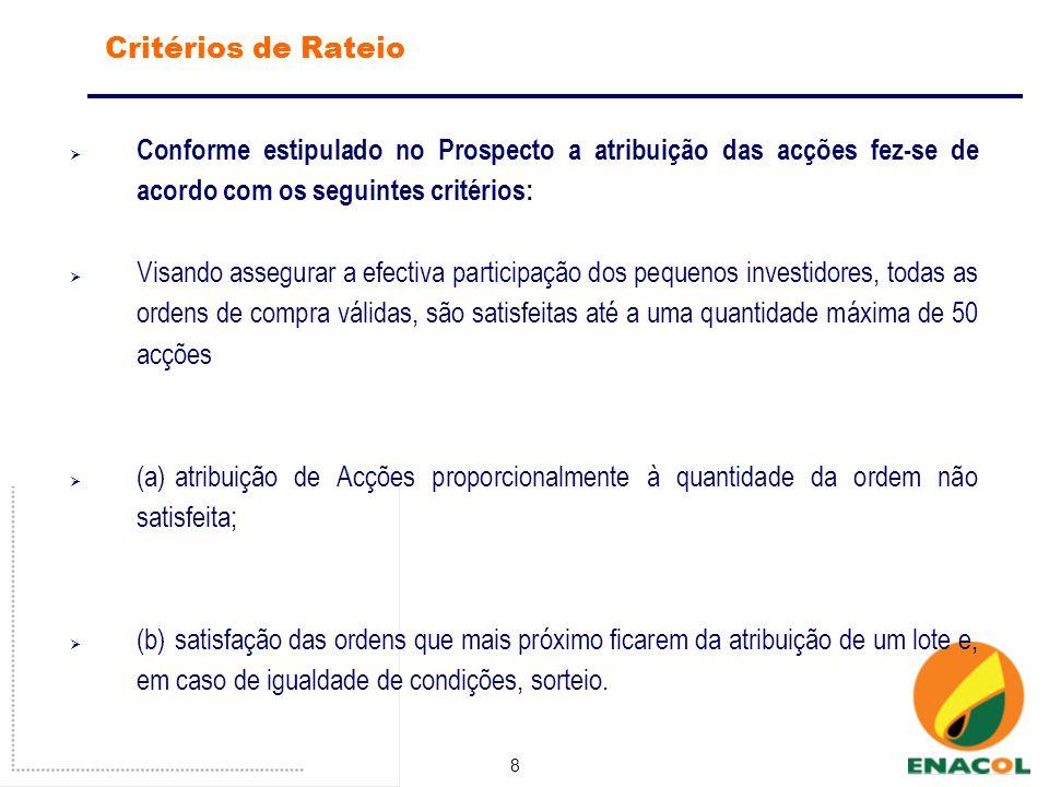 8 Critérios de Rateio Conforme estipulado no Prospecto a atribuição das acções fez-se de acordo com os seguintes critérios: Visando assegurar a efectiva participação dos pequenos investidores, todas as ordens de compra válidas, são satisfeitas até a uma quantidade máxima de 50 acções (a)atribuição de Acções proporcionalmente à quantidade da ordem não satisfeita; (b)satisfação das ordens que mais próximo ficarem da atribuição de um lote e, em caso de igualdade de condições, sorteio.