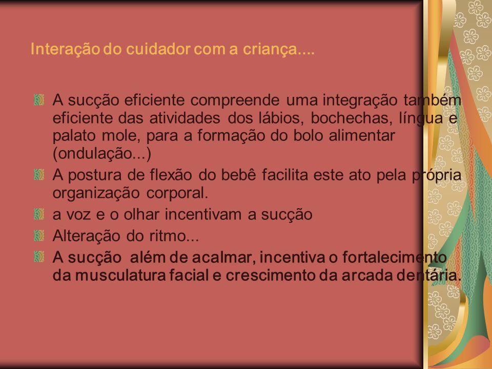 Interação do cuidador com a criança.... A sucção eficiente compreende uma integração também eficiente das atividades dos lábios, bochechas, língua e p