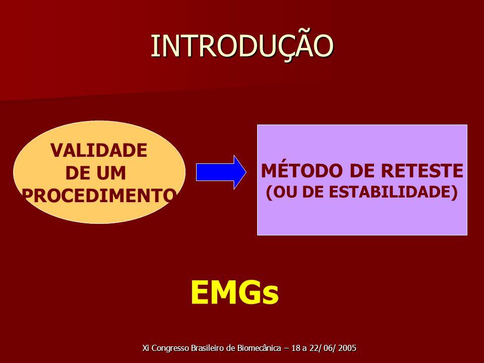 Xi Congresso Brasileiro de Biomecânica – 18 a 22/ 06/ 2005 INTRODUÇÃO VALIDADE DE UM PROCEDIMENTO MÉTODO DE RETESTE (OU DE ESTABILIDADE) EMGs
