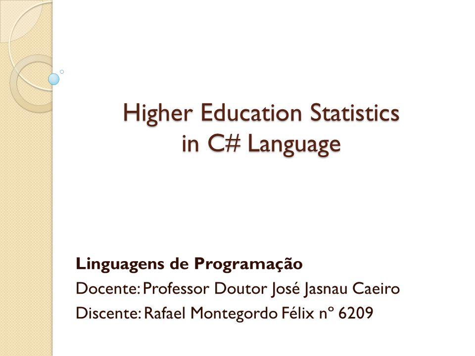 Higher Education Statistics in C# Language Linguagens de Programação Docente: Professor Doutor José Jasnau Caeiro Discente: Rafael Montegordo Félix nº 6209