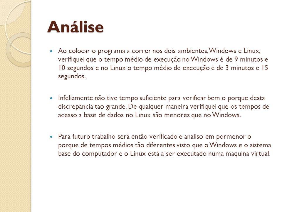 Análise Ao colocar o programa a correr nos dois ambientes, Windows e Linux, verifiquei que o tempo médio de execução no Windows é de 9 minutos e 10 segundos e no Linux o tempo médio de execução é de 3 minutos e 15 segundos.