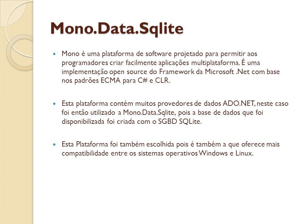 Mono.Data.Sqlite Mono é uma plataforma de software projetado para permitir aos programadores criar facilmente aplicações multiplataforma.