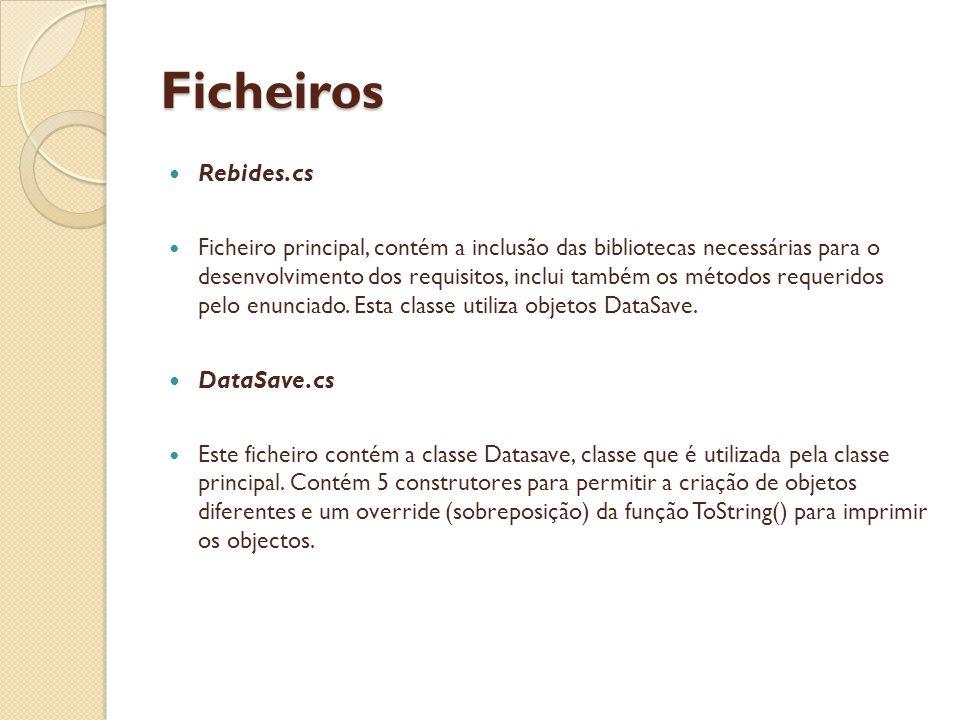 Ficheiros Rebides.cs Ficheiro principal, contém a inclusão das bibliotecas necessárias para o desenvolvimento dos requisitos, inclui também os métodos requeridos pelo enunciado.