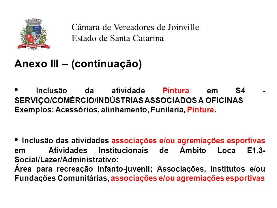 Câmara de Vereadores de Joinville Estado de Santa Catarina Anexo III – (continuação) Inclusão da atividade Pintura em S4 - SERVIÇO/COMÉRCIO/INDÚSTRIAS ASSOCIADOS A OFICINAS Exemplos: Acessórios, alinhamento, Funilaria, Pintura.