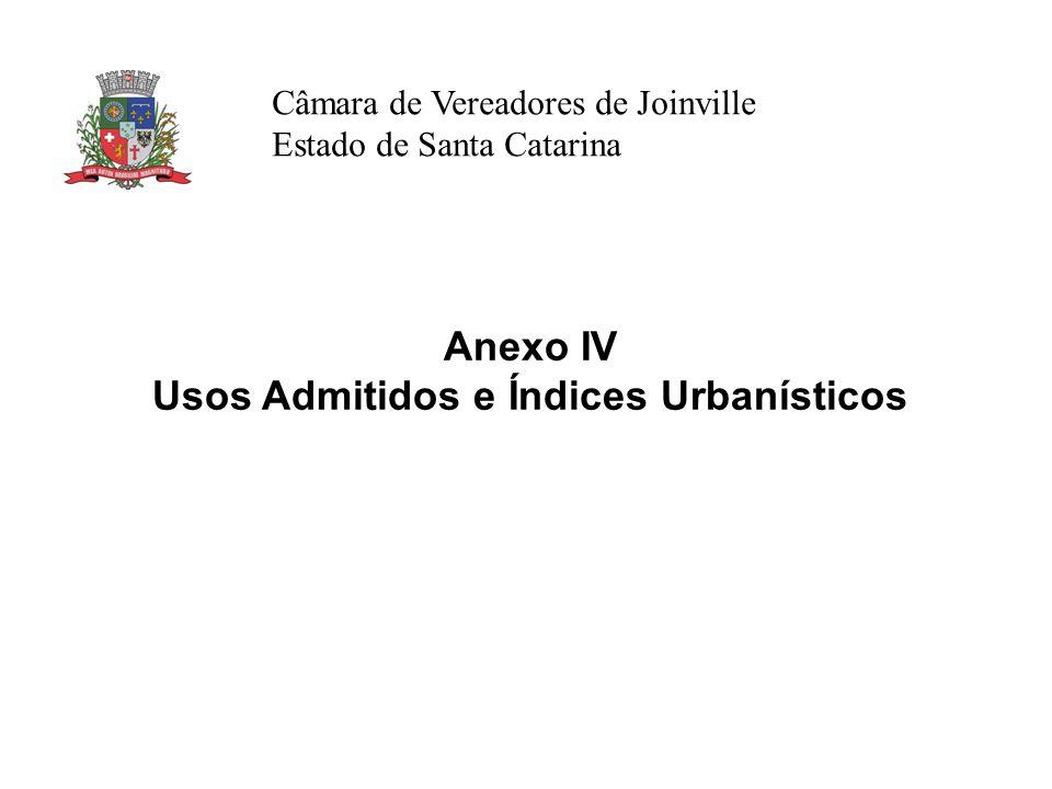 Câmara de Vereadores de Joinville Estado de Santa Catarina Anexo IV Usos Admitidos e Índices Urbanísticos
