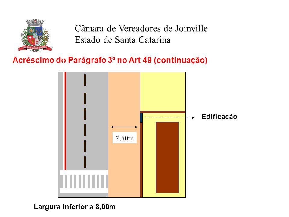 Câmara de Vereadores de Joinville Estado de Santa Catarina Acréscimo do Parágrafo 3º no Art 49 (continuação) Largura inferior a 8,00m 2,50m Edificação