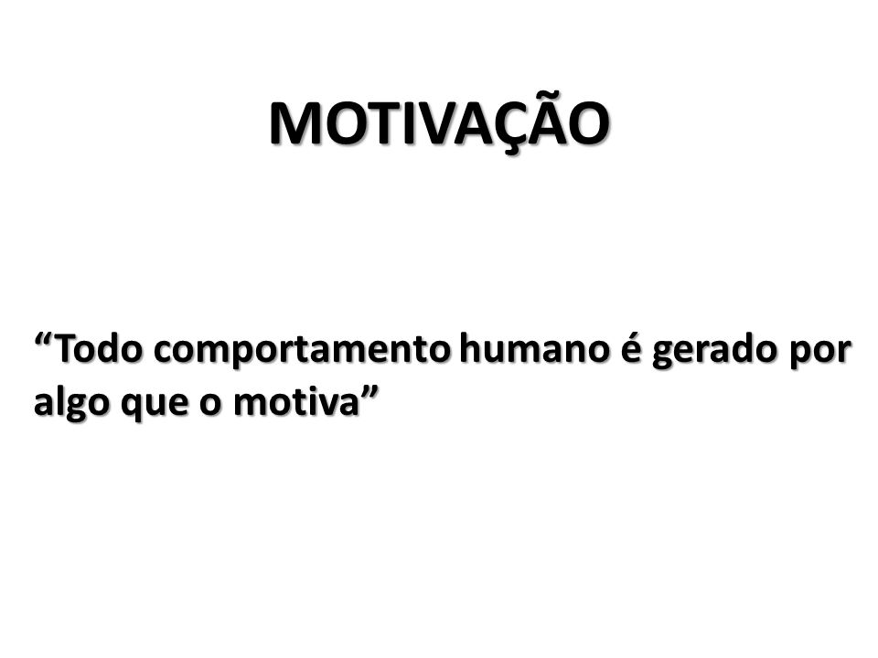 MOTIVAÇÃO Todo comportamento humano é gerado por algo que o motiva
