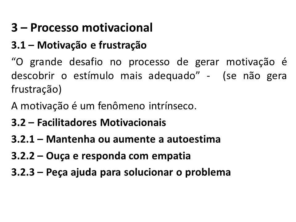 3 – Processo motivacional 3.1 – Motivação e frustração O grande desafio no processo de gerar motivação é descobrir o estímulo mais adequado - (se não gera frustração) A motivação é um fenômeno intrínseco.