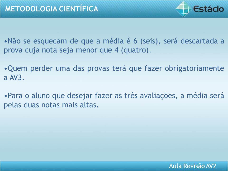 Aula Revisão AV2 METODOLOGIA CIENTÍFICA Usem o fórum de dúvidas para qualquer conteúdo que não tenha sido entendido.