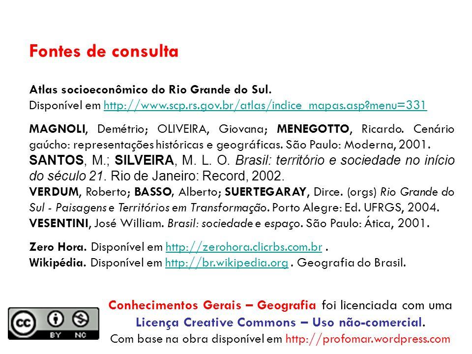 Fontes de consulta Atlas socioeconômico do Rio Grande do Sul.