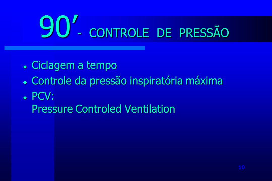 10 Ciclagem a tempo Ciclagem a tempo Controle da pressão inspiratória máxima Controle da pressão inspiratória máxima PCV: Pressure Controled Ventilation PCV: Pressure Controled Ventilation 90 - CONTROLE DE PRESSÃO