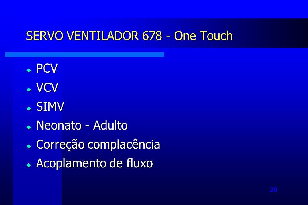 20 SERVO VENTILADOR 678 - One Touch PCV PCV VCV VCV SIMV SIMV Neonato - Adulto Neonato - Adulto Correção complacência Correção complacência Acoplamento de fluxo Acoplamento de fluxo