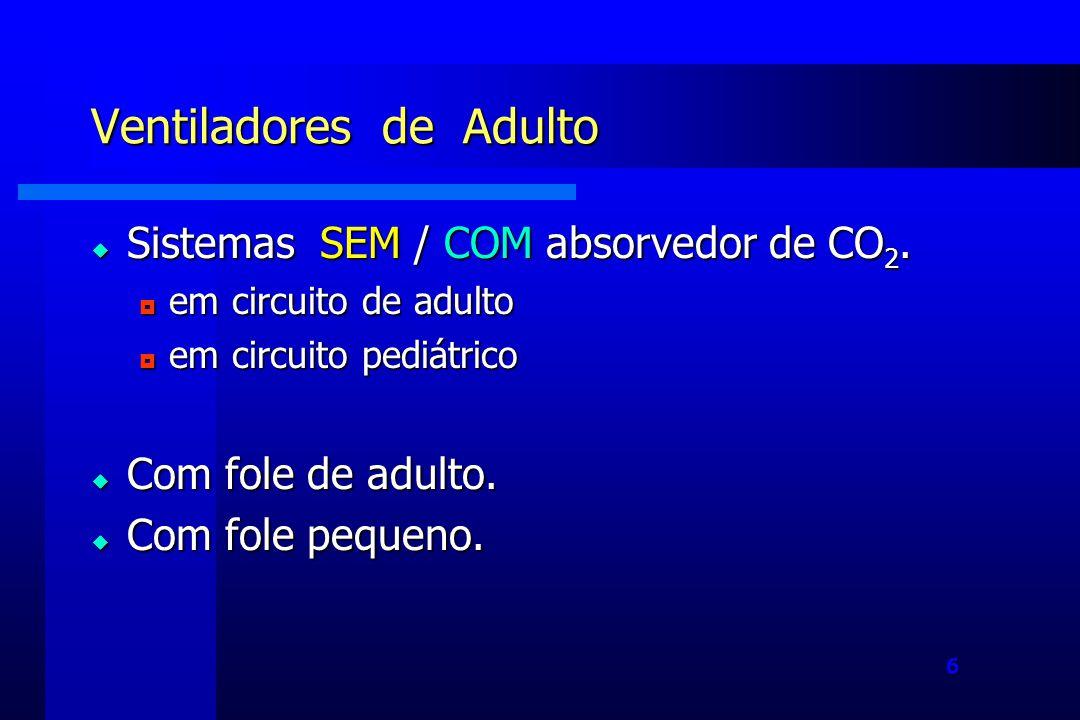 6 Ventiladores de Adulto Sistemas SEM / COM absorvedor de CO 2.