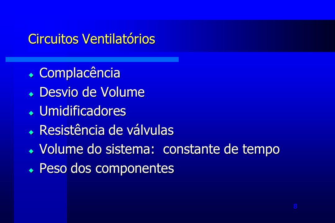 8 Circuitos Ventilatórios Complacência Complacência Desvio de Volume Desvio de Volume Umidificadores Umidificadores Resistência de válvulas Resistência de válvulas Volume do sistema: constante de tempo Volume do sistema: constante de tempo Peso dos componentes Peso dos componentes