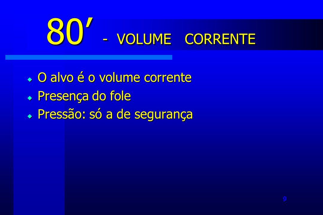 9 O alvo é o volume corrente O alvo é o volume corrente Presença do fole Presença do fole Pressão: só a de segurança Pressão: só a de segurança 80 - VOLUME CORRENTE