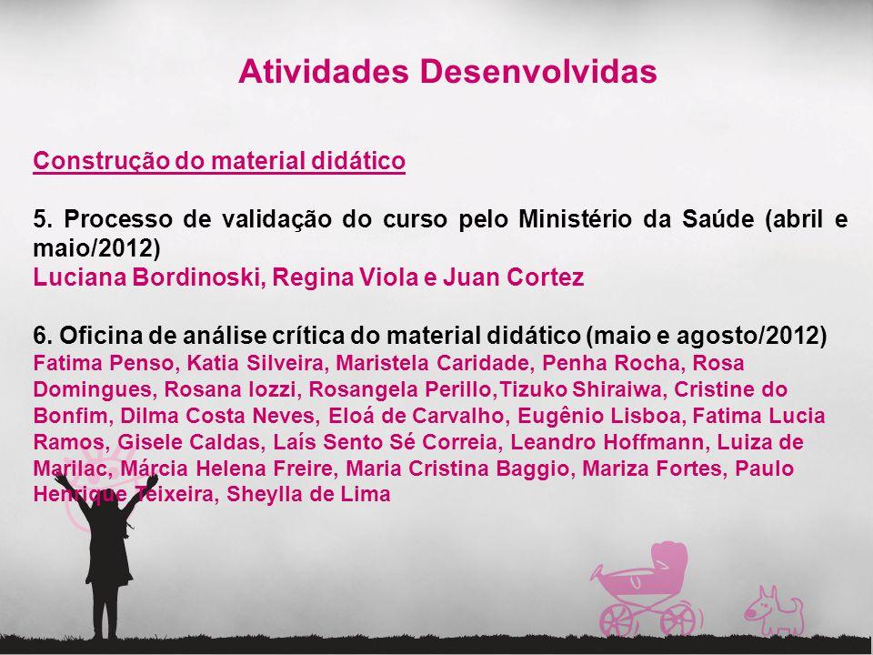 Atividades Desenvolvidas Construção do material didático 5. Processo de validação do curso pelo Ministério da Saúde (abril e maio/2012) Luciana Bordin