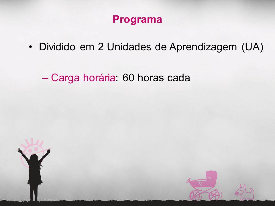 Programa Dividido em 2 Unidades de Aprendizagem (UA) –Carga horária: 60 horas cada