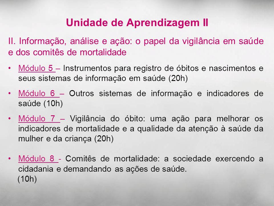 Unidade de Aprendizagem II II. Informação, análise e ação: o papel da vigilância em saúde e dos comitês de mortalidade Módulo 5 – Instrumentos para re