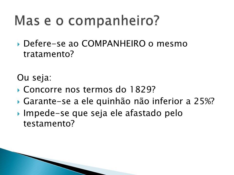 Defere-se ao COMPANHEIRO o mesmo tratamento.Ou seja: Concorre nos termos do 1829.