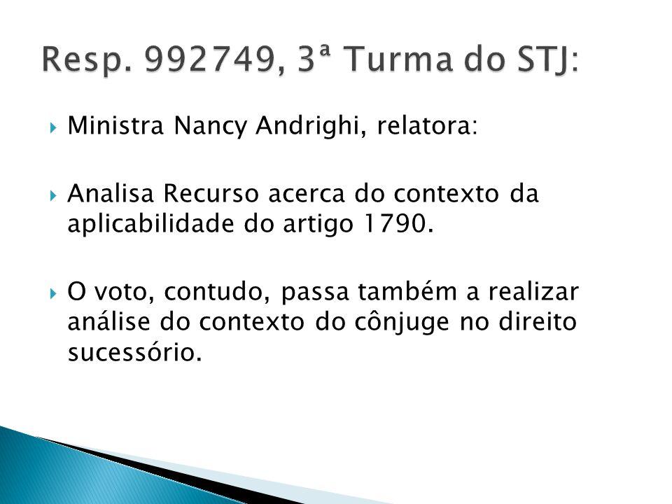 Ministra Nancy Andrighi, relatora: Analisa Recurso acerca do contexto da aplicabilidade do artigo 1790.