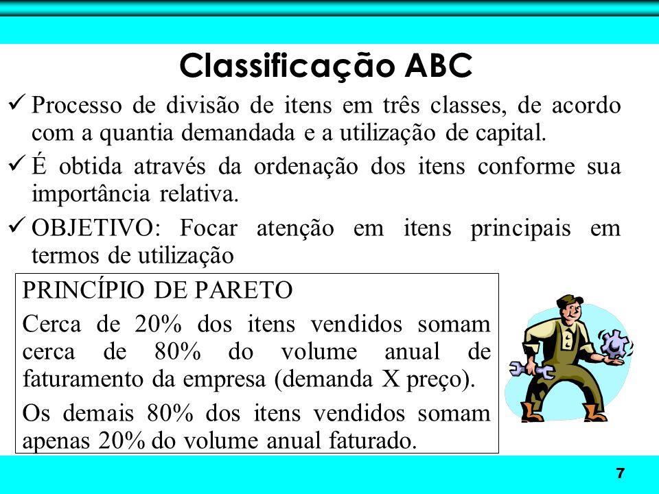 8 Classe A: representam cerca de 20% dos itens vendidos ou mantidos em estoque e 80% do faturamento.
