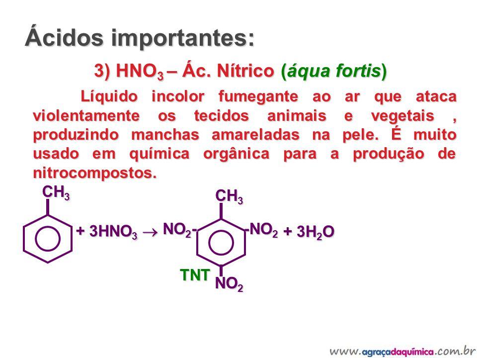 3) HNO 3 – Ác. Nítrico (áqua fortis) Líquido incolor fumegante ao ar que ataca violentamente os tecidos animais e vegetais, produzindo manchas amarela