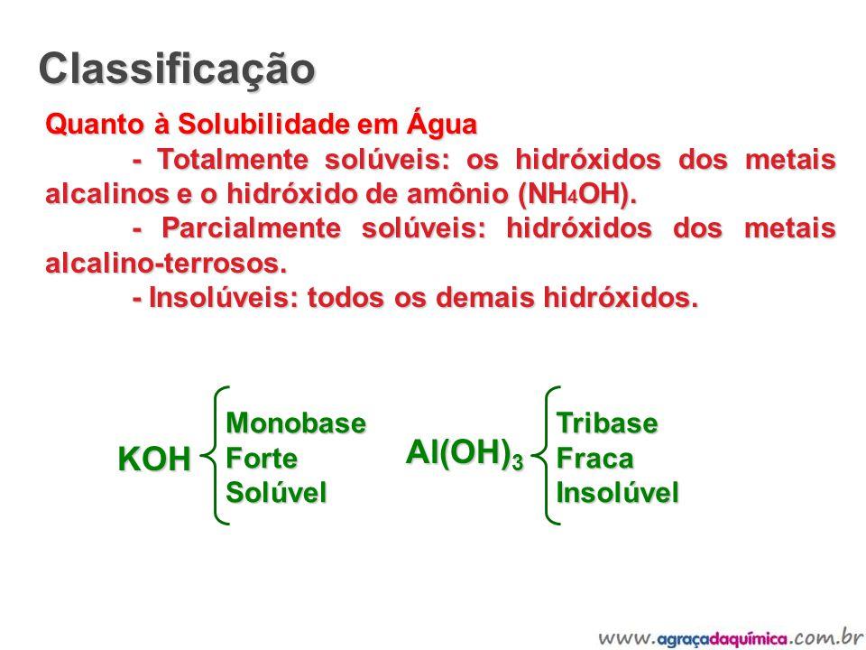 Classificação Quanto à Solubilidade em Água - Totalmente solúveis: os hidróxidos dos metais alcalinos e o hidróxido de amônio (NH 4 OH). - Parcialment
