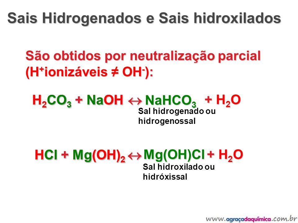 Sais Hidrogenados e Sais hidroxilados Sais Hidrogenados e Sais hidroxilados São obtidos por neutralização parcial (H + ionizáveis OH - ): H 2 CO 3 + N
