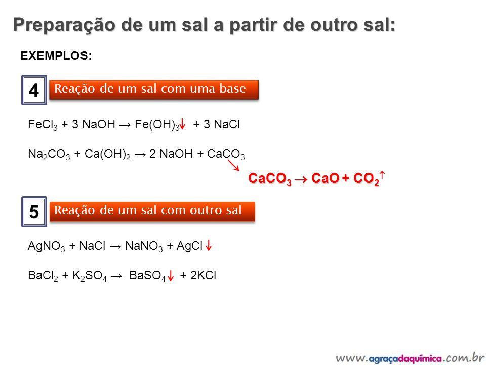 Preparação de um sal a partir de outro sal: 4 EXEMPLOS: Reação de um sal com uma base FeCl 3 + 3 NaOH Fe(OH) 3 + 3 NaCl Na 2 CO 3 + Ca(OH) 2 2 NaOH +
