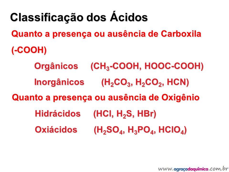 Classificação dos Ácidos Quanto a presença ou ausência de Oxigênio Hidrácidos (HCl, H 2 S, HBr) Oxiácidos (H 2 SO 4, H 3 PO 4, HClO 4 ) Quanto a prese