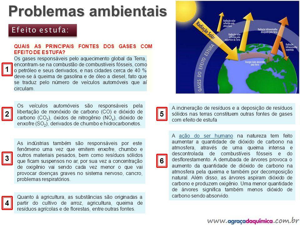 Problemas ambientais QUAIS AS PRINCIPAIS FONTES DOS GASES COM EFEITO DE ESTUFA? Os gases responsáveis pelo aquecimento global da Terra, encontram-se n