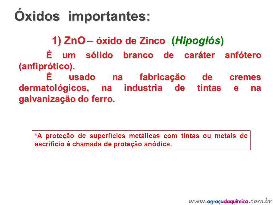 1) ZnO – óxido de Zinco (Hipoglós) É um sólido branco de caráter anfótero (anfiprótico). É usado na fabricação de cremes dermatológicos, na industria