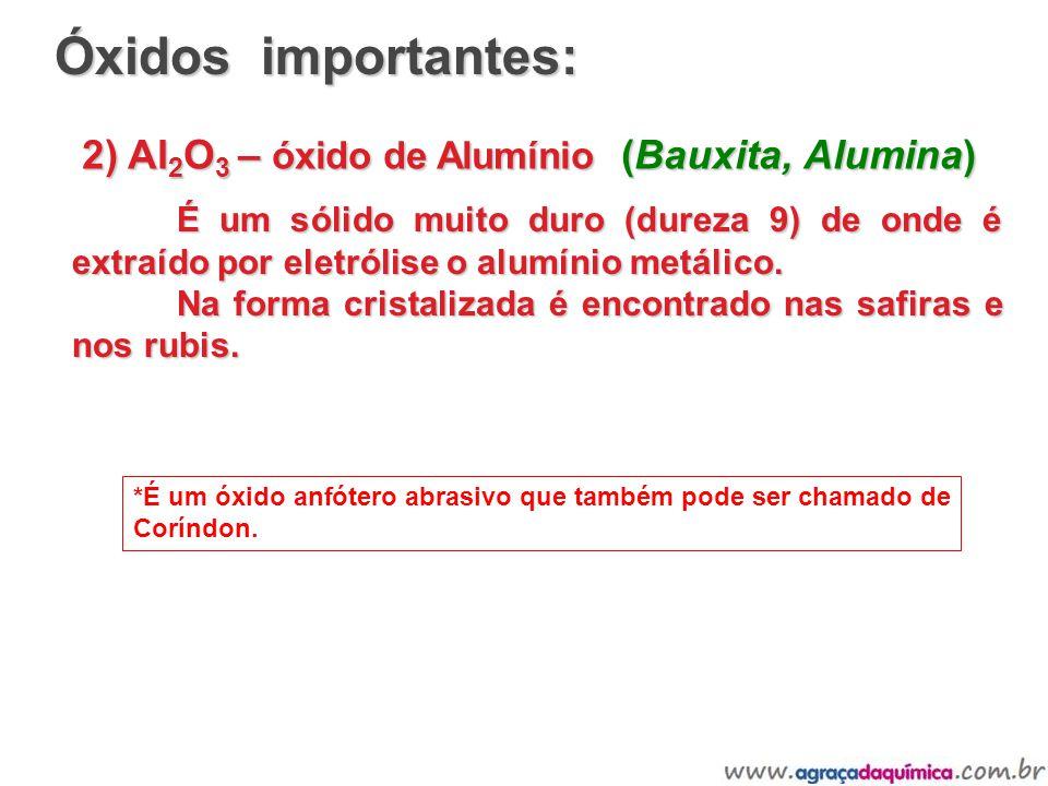 2) Al 2 O 3 – óxido de Alumínio (Bauxita, Alumina) É um sólido muito duro (dureza 9) de onde é extraído por eletrólise o alumínio metálico. Na forma c