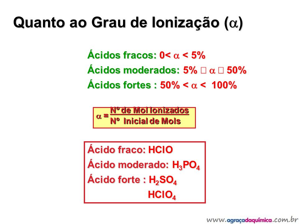 Quanto ao Grau de Ionização ( ) Hidrácidos: Fortes: HCl, HBr, HI Moderado: HF *Os demais são fracos!!.