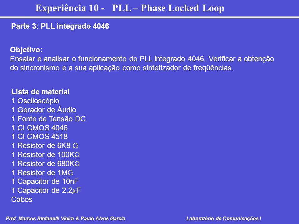 Experiência 10 - PLL – Phase Locked Loop Prof. Marcos Stefanelli Vieira & Paulo Alves Garcia Laboratório de Comunicações I Parte 3: PLL integrado 4046