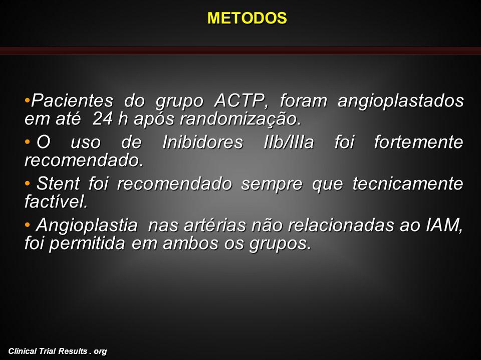 Clinical Trial Results. org METODOS Pacientes do grupo ACTP, foram angioplastados em até 24 h após randomização.Pacientes do grupo ACTP, foram angiopl