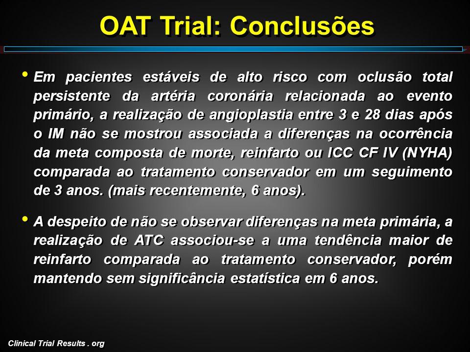 Clinical Trial Results. org OAT Trial: Conclusões Em pacientes estáveis de alto risco com oclusão total persistente da artéria coronária relacionada a