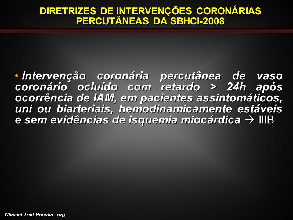 Clinical Trial Results. org DIRETRIZES DE INTERVENÇÕES CORONÁRIAS PERCUTÂNEAS DA SBHCI-2008 Intervenção coronária percutânea de vaso coronário ocluído