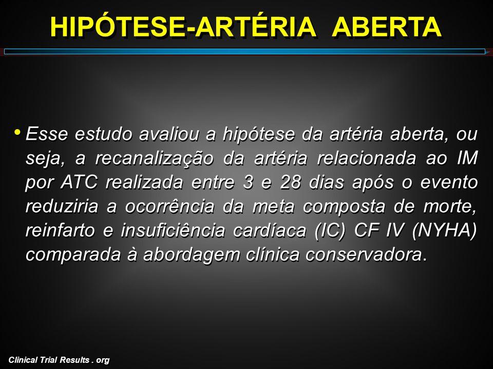 Clinical Trial Results. org HIPÓTESE-ARTÉRIA ABERTA Esse estudo avaliou a hipótese da artéria aberta, ou seja, a recanalização da artéria relacionada