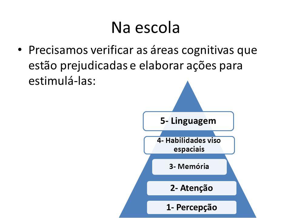 Na escola Precisamos verificar as áreas cognitivas que estão prejudicadas e elaborar ações para estimulá-las: 1- Percepção 2- Atenção 3- Memória 4- Habilidades viso espaciais 5- Linguagem