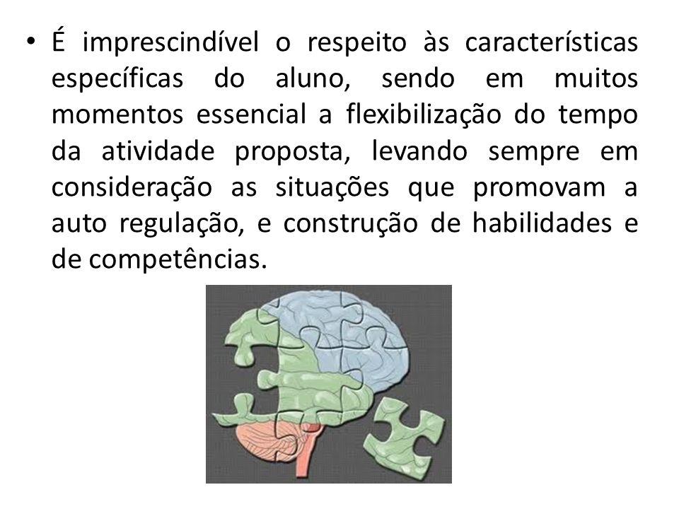 É imprescindível o respeito às características específicas do aluno, sendo em muitos momentos essencial a flexibilização do tempo da atividade propost