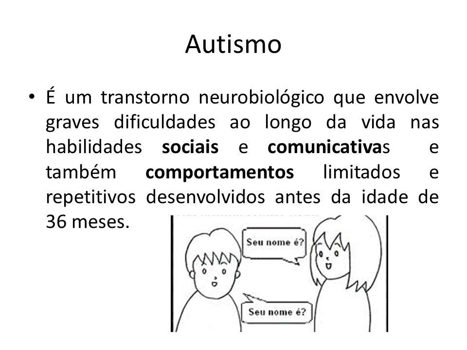 Autismo É um transtorno neurobiológico que envolve graves dificuldades ao longo da vida nas habilidades sociais e comunicativas e também comportamentos limitados e repetitivos desenvolvidos antes da idade de 36 meses.