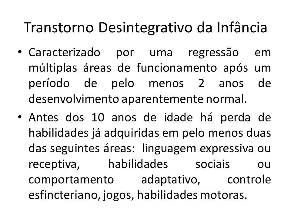 Transtorno Desintegrativo da Infância Caracterizado por uma regressão em múltiplas áreas de funcionamento após um período de pelo menos 2 anos de desenvolvimento aparentemente normal.