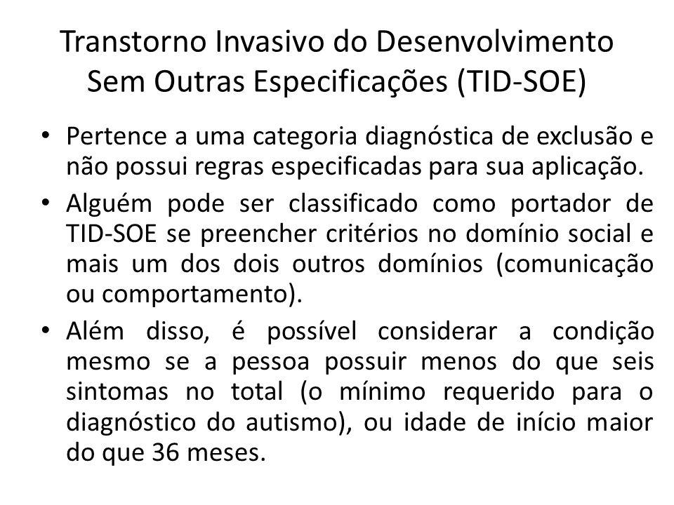 Transtorno Invasivo do Desenvolvimento Sem Outras Especificações (TID-SOE) Pertence a uma categoria diagnóstica de exclusão e não possui regras especificadas para sua aplicação.