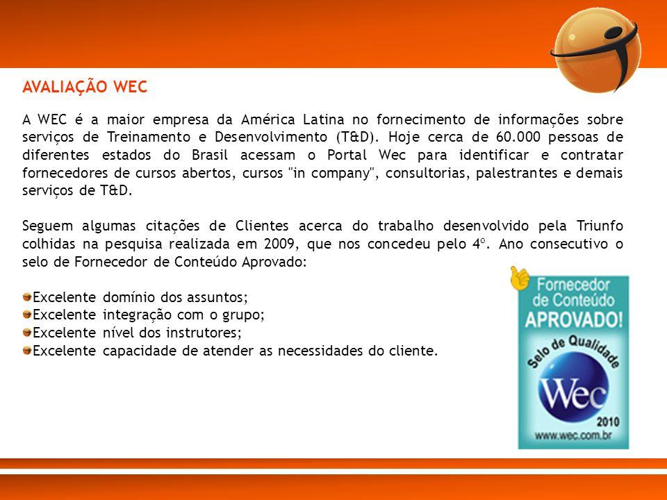 A WEC é a maior empresa da América Latina no fornecimento de informações sobre serviços de Treinamento e Desenvolvimento (T&D). Hoje cerca de 60.000 p