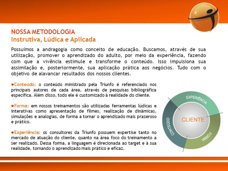 Conteúdo: o conteúdo ministrado pela Triunfo é referenciado nos principais autores de cada área, através de pesquisas bibliográfica específica. Além d
