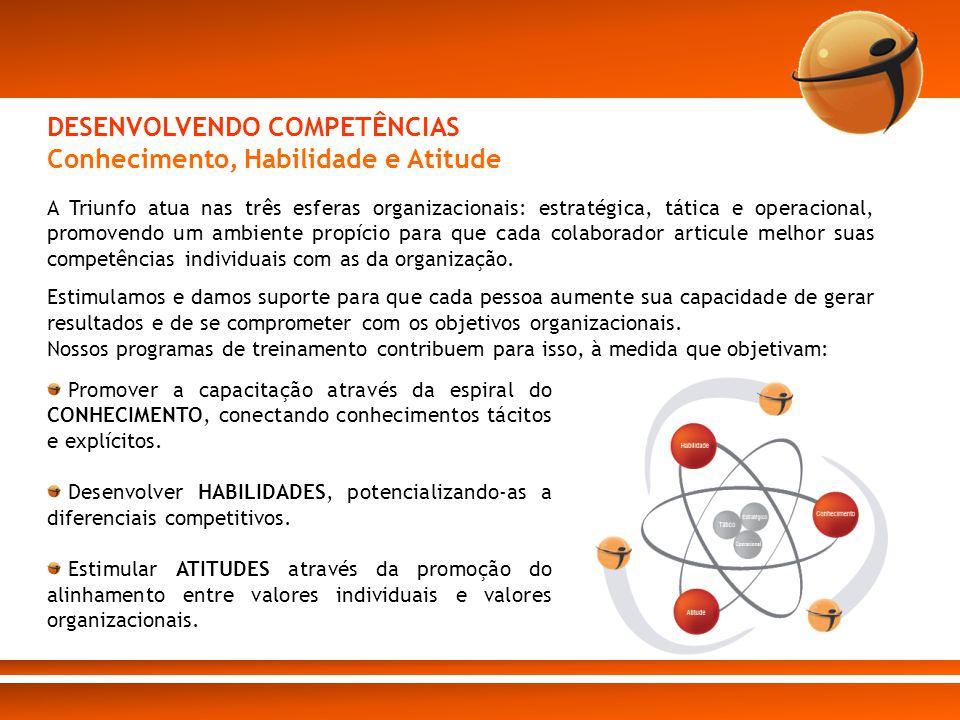 A Triunfo atua nas três esferas organizacionais: estratégica, tática e operacional, promovendo um ambiente propício para que cada colaborador articule
