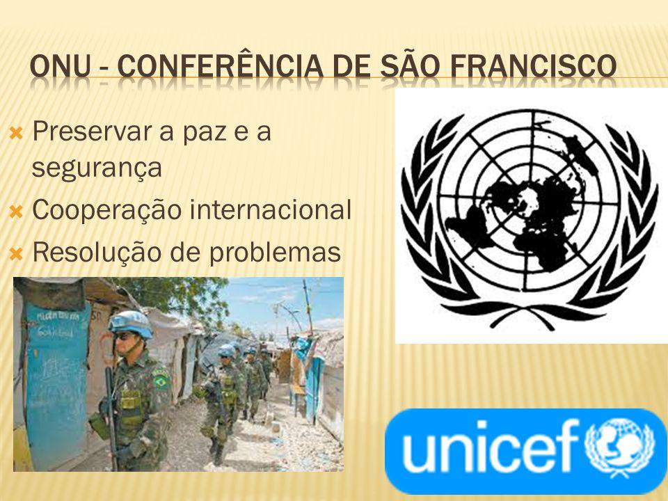 Preservar a paz e a segurança Cooperação internacional Resolução de problemas